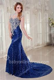 royal blue prom dresses 2017 queen anne sequined appliques beading