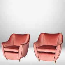 Pink Armchairs Italian Midcentury Set Of Pink Armchairs 59271