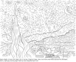 starry night coloring page starry night vincent van gogh coloring