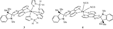 light controlled spin state switching rearrangements of transition