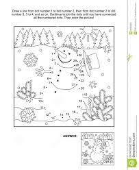 dot coloring pages dot to dot and coloring page snowman stock vector image 62995805