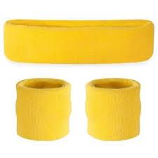 yellow headband suddora neon yellow sweatband set sweat wristbands sport
