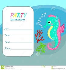 Invitation Card For A Birthday Party Children Birthday Party Invitation Card Template Colorful Seahorse