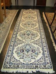 Signed Persian Rugs Vintage Persian Tabriz Runner Rug Signed Blue Burgundy White