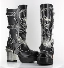 women s black motorcycle boots black spawn calf high skull biker goth buckle platform punk boots 9