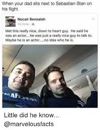 Stan Meme - when your dad sits next to sebastian stan on his flight nocair