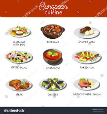 a à z cuisine european cuisine food dishes restaurant vector เวกเตอร สต อก