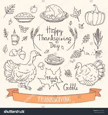 thanksgiving card templates hand drawn thanksgiving traditional symbols doodle stock vector