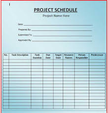 simple blank project schedule template with large table layout
