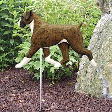 boxer dog statue boxer uncropped outdoor garden dog sign hand painted figure brindle