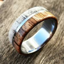 deer antler wedding band mens wood deer antler wedding ring northernroyal