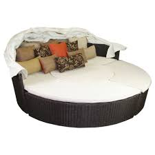 Circular Patio Seating Furniture Comfortable Round Wicker Outdoor Daybed For Patio