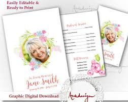 Downloadable Funeral Program Templates Funeral Program Floral Funeral Program Personalized Memorial