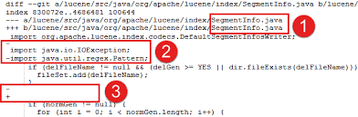 pattern java file exle diff of a file that is changed to fix a bug in lucene java
