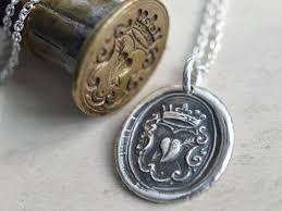 wax seal jewelry heart crown wax seal necklace wax seal jewelry suegray