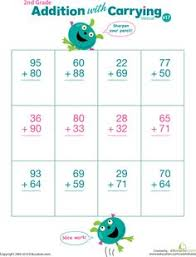 double digits practice vertical addition with carrying 36