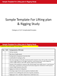 sample lifting plan and rigging study elevator crane machine