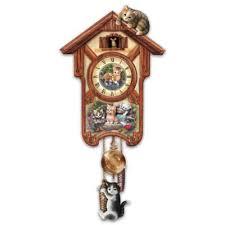 happy trails cuckoo clock with kitten by jurgen scholz