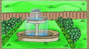 drawing a simple garden fountain how to draw a fountain