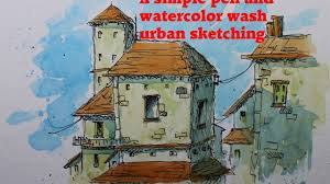 a simple pen and watercolor wash urban sketching youtube