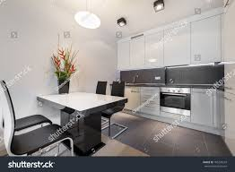 modern kitchen tile flooring modern kitchen gray tile floor white stock photo 185270243