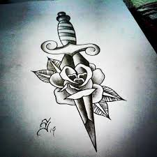49 best old skull dagger tattoo images on pinterest