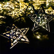 Decorative Patio String Lights by 5m Waterproof Solar Powered Silver Star Led Fairy String Lights