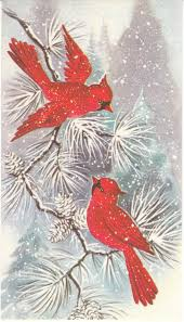 vintage christmas card birds art pinterest vintage