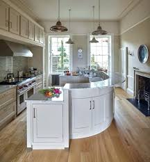 curved kitchen island cream cabinets painting hickory end wall