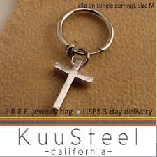 clip on earrings for men mens clip on earring silver hoop cross earring for guys size m