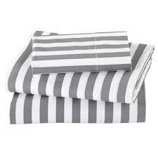 organic not a peep grey stripe toddler sheet set the land of nod