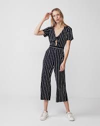 express black jumpsuit stripe tie front jumpsuit express