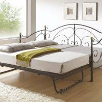 furniture black wrought iron daybed with trundle having striped