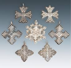 seven sterling silver tree ornaments by reed barton and gorham