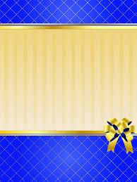 blue golden blank invitation card vector
