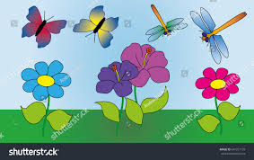 two butterflies two dragonflies fly over stock vector 641317159