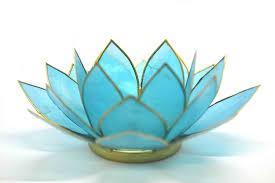 Lotus Flower Tea - beautiful large blue 5th chakra lotus flower tea light candle