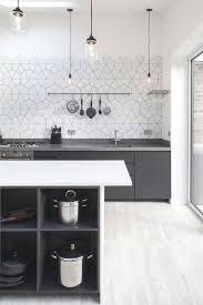 interior pure white kitchen cabinets also brick backsplash