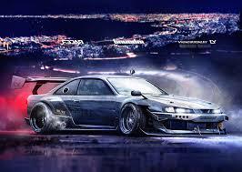 nissan silvia s14 jdm yasiddesign render artwork car tuning nissan silvia s14 drifting