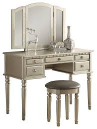 Silver Bedroom Vanity 3 Piece Bedroom Vanity Set Champagne Silver Traditional