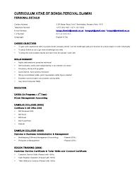 curriculum vitae of bonga dlamini resume format