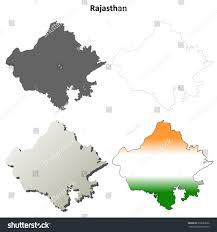 Blank India Map With State Boundaries by Rajasthan Blank Detailed Outline Map Set Stock Vector 216682036