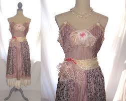 Mauve Color by Upcycled Lace Mauve Color Cotton Blend Antique Slip Dress Babydoll