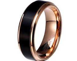 Mens Gunmetal Wedding Rings by Tungsten Rose Gold Etsy