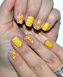 style sense moments beauty yellow nails with flowers