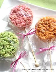 colorful rice krispies treats wooden rock candy cakepop
