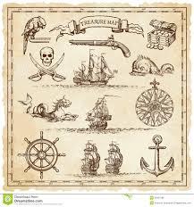 pirate vintage map illustration elements stock vector image