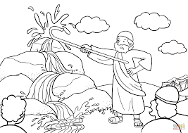moses brings water out of the rock coloring page free printable
