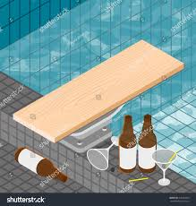 isometric pool party colorful illustration beer stock vector