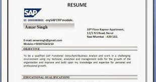 Sample Resume Formats For Freshers by Sap Fi Cv Sample Sap Abap Resume Sample Resume Cv Cover Letter Sap